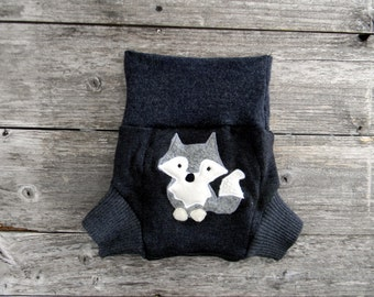 Upcycled Merino Wool Soaker Cover Diaper Cover With Added Doubler Charcoal Gray With Wolf Applique MEDIUM 6-12M Kidsgogreen