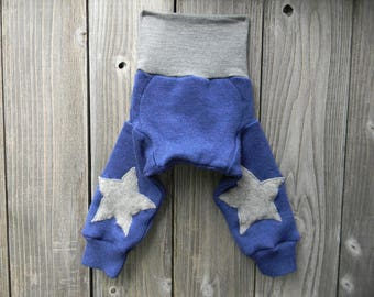SMALL Upcycled Merino Wool Longies Soaker Cover Diaper Cover With Added Doubler Blue / Gray With Gray Star Knee Patches SMALL 3-6M