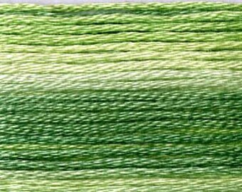 Cosmo, 6 Strand Cotton Floss, SE80-8012,  Seasons Variegated Thread, Greens, Punch Needle, Penny Rugs, Primitive Stitching, Sewing Accessory