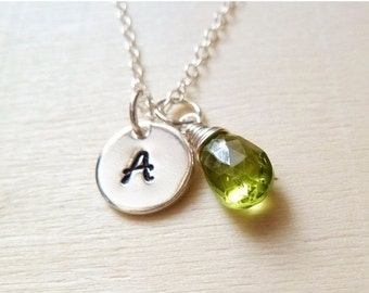 Personalized birthstone and Initial necklace. Any 1 birthstone Charm.Gold or Silver.Green Peridot necklace. August birthstone necklace. Leo