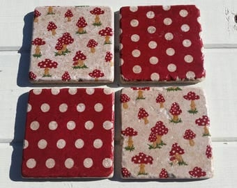 Toadstools and Polka Dots Coaster Set of 4 Tea Coffee Beer Coasters