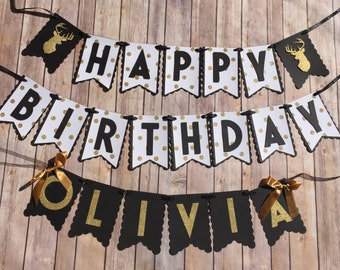 NEW! | Black & Gold Deer | Happy Birthday |  Gold Letters | Happy Birthday Banner with Name