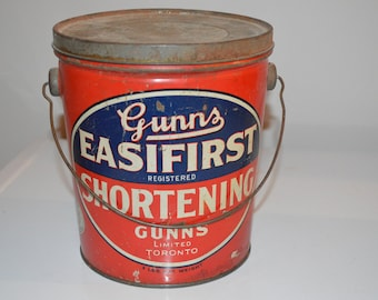Advertising tin Shortening kitchen pail handled - Gunns - storage - Toronto - red