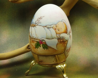 Baby Jesus/ Hand Painted Goose Egg/ Egg Shell Art/ Egg Art
