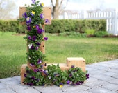 Outdoor Cedar Monogram Flower Planter by Ellery Designs