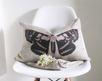 Moth Pillow Cover - 13 X 19 inch - Decorative Pillow Cover - butterfly - botanical - sepia  - ready to ship