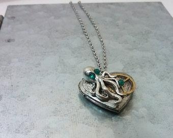 Guarded Heart - Steampunk Octopus Locket