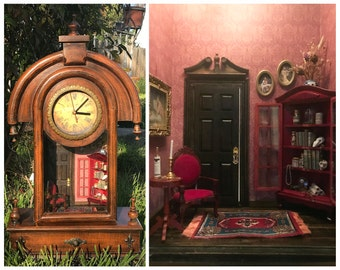 """Mantle clock witch's dollhouse, working clock, lights up!  1:12 1/12 1"""""""