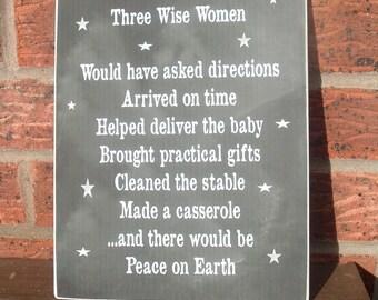 Three wise women xmas  fun christmas wooden sign plaque