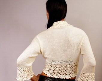 Bridal Shrug, Bolero Jacket, Ivory Wedding Bolero, Crochet Shrug, Knit Bolero, Lace Bolero, Bridal Cape, 3/4 Sleeve, Cardigan Sweater, Sale