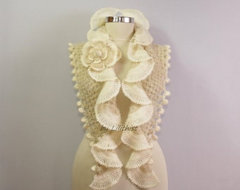 Wedding Shawl, Ivory Shawl, Bridal Shawl, Wedding Wrap, Bridal Shrug Bolero, Wrap Shawl, Cover Up, Crochet Wear, Glitter Cream Shawl