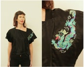 Vintage Asian Silk Top Black Japanese Blouse Embroidered Asian Cap Sleeve Top