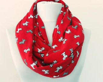 Red dog scarf, dog infinity scarf, dog lovers gift for her, westie dog , scottish terrier, puppy scarf , birthday gift