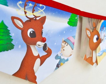 RUDOLPH the RED NOSED Reindeer Banner Christmas decoration Little Golden Book storybook garland Banner Children paper Eco re purposed