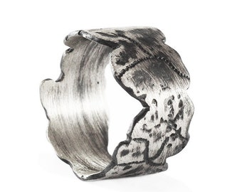 Rustic Silver Ring Man Scratched Rings Mens Personalize Jewelry