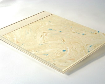 Guest Book - Cotton Sailcloth with Hand Marbled Paper