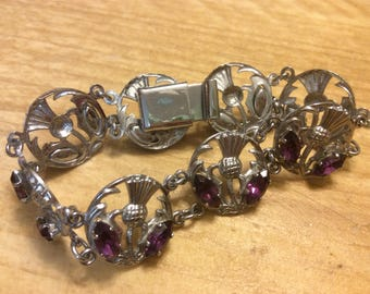 Vintage Scottish Thistle Purple Crystal Silver-tone Bracelet