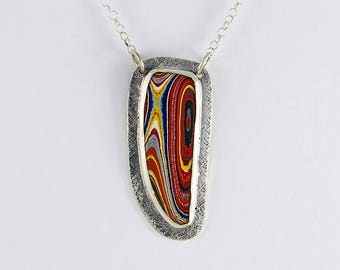 Handcrafted Sterling Silver Fordite Pendant Corvette Metallic Paints  Bright Colors Contemporary Artisan Jewelry OOAK Design 266164051417