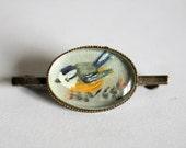 Vintage bird brooch.  Painted brooch