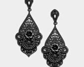Black Filigree Dangle Earrings, Post, Filigree Teardrop, Victorian, Art Deco, Hippie, Boho, Retro, Goth, Rocker, Bohemian, Black Metal