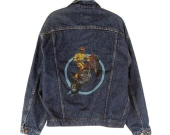 Vintage Big Smith Denim Trucker Jean Jacket Motocross Dirt Bike USA EUC Medium