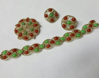 Sarah Coventry Acapulco Bracelet Brooch and Clip earrings 1969