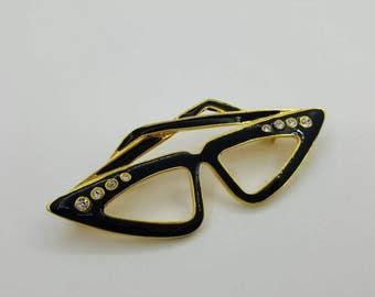 Enamel Black And Rhinestones Cats eye Glasses Brooch Specs