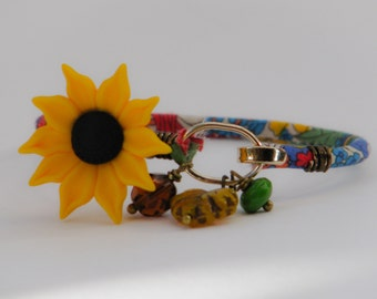 Sunflower Rose Gold Bangle - floral ribbon dangle charms unique handcrafted