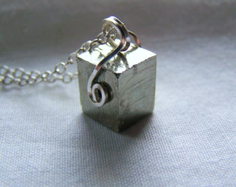 Gold Pyrite Cube Crystal Sacred Geometry Necklace