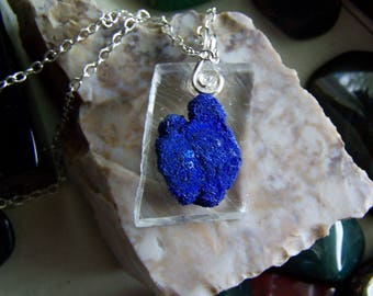 Blue Azurite Crystal on Clear Optical Calcite Natural Stone Pendant