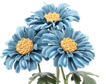 Leather Daisy Gerbera Blue Leather Flower Third Wedding Anniversary Gift Long Stem Flower Leather Bouquet 3rd Leather Anniversary
