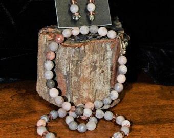 Pink and Gray Jasper necklace set