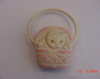 Vintage Celluloid  Cat & Kittens In Basket Baby Rattle  17 - 486