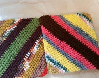 Crochet Pot Holder, Potholder, Hot Mate,, Hot Plate, Stripes, Double Sided Pot Holder, Oven Pot holder, Handmade Pot Holder Set of 2 #HMC10