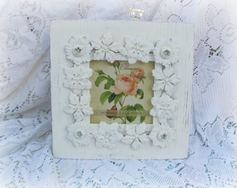 Shabby Chic Picture Frame, Antique White Picture Frame With Floral Motif, Vintage Wedding or Nursery Frame
