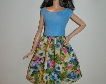 "Handmade 11.5"" fashion doll clothes - blue and yellow floral dress"