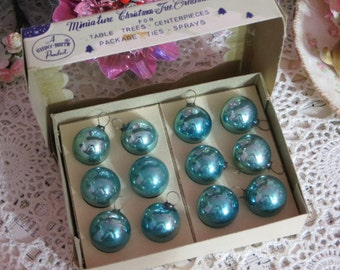 Vintage Christmas-Tiny Feather Tree Glass Ornaments-Original Box-1 dozen-20mm-Shiny Brite-Pale Aqua-Shabby Cottage Chic