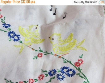 ON SALE Vintage Runner-Embroidered-Vanity-Dresser Scarf-Shabby Cottage Chic-Yellow Birds-Musical Notes