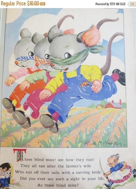ON SALE Vintage Ruth Newton Nursery Rhyme Book Print-Three Blind Mice