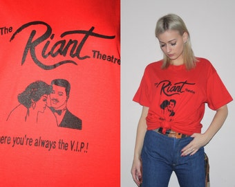 Vintage 70s The Riant Theatre Red Paper Thin Screen Stars T Shirt - Vintage 1970s Tee - 70s Tops -  W00452