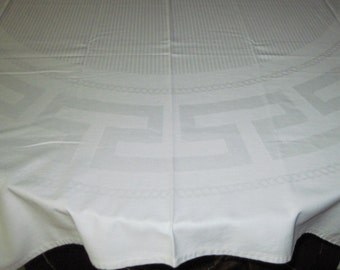 Vintage Mid Century Retro White Cotton Linen Striped & Greek Key Damask Pattern Tablecloth Circa 1950's