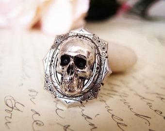 Belial-- skull Ring-adjustable-steampunk-Victorian- statement-armor ring VS032