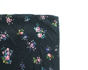 Vintage Rayon Fabric / Floral Fabric / Repro Fabric Cold Rayon Dress Fabric Floral Fabric Black Pink Roses