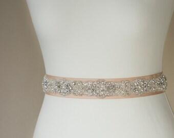 Champagne Bridal belt, Bridal sash, Wedding dress sash, Wedding belt, Crystal bridal belt, wedding sashes belts, rhinestone bridal belt