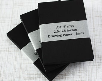 ATC Blanks ACEO Blanks Black Drawing Paper Artist Trading Card Supplies ACEO Supplies Altered Art Mixed Media Scrapbooking 30 count