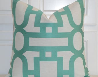 Decorative Pillow Cover - Trellis Pillow - Lattice - Geometric - Aqua/Green Pillow - Custom Designer Pillow - Sofa Cushion