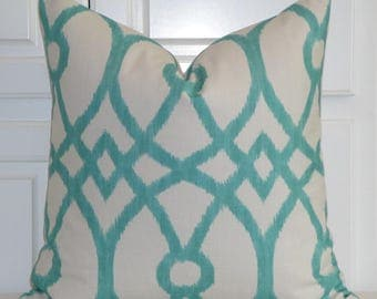 Decorative Pillow Cover - Aqua Trellis Pillow Cover - Geometric - Sofa Pillow - Cushion  - Accent Pillow - Lattice Design