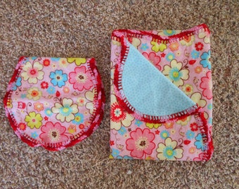 Hem Stitch Baby Girl - Red, Yellow, Blue Flowers Floral Flannel Receiving Blanket and Burp Cloth