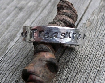 10 dollars off: Custom Thick Sterling Silver Engraved Ring - Unisex - Choose from 10 Fonts