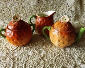 Czechoslovakia Pottery  Child's Strawberry Shaped Tea Set (circa 1930s)
